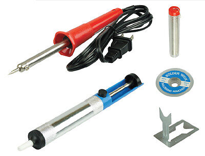 Electric Soldering Tools Kit Set Iron Stand Desoldering Pump Ul Approved - New