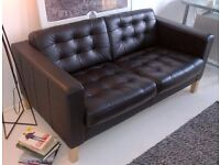 IKEA LANDSKRONA Black leather two-seat sofa in perfect condition