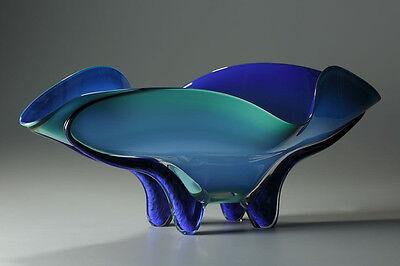 "Ed Branson ""Tropical Bowl"" in Caribbean Blue, Hand Blown Art Glass, 25"" Long"