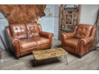 Vintage Leather 2 Seater Sofa & Armchair Studs Brown