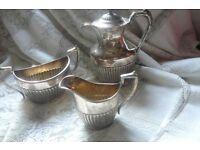 James Deakin & Son Trio set Coffee Pot / Sugar / Milk VICTORIAN. SILVER PLATE see description