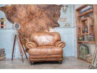 Large Vintage Leather Armchair Studs Tan