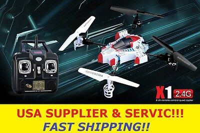 SYMA X1 SpaceCraft 4CH 2.4G 4-axis 360° 3D LCD Gyro RC Helicopter Quadcopter!! on Rummage