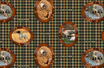 Hunting Bird Dogs on Plaid Print Concepts Fabric #4734 By the Yard