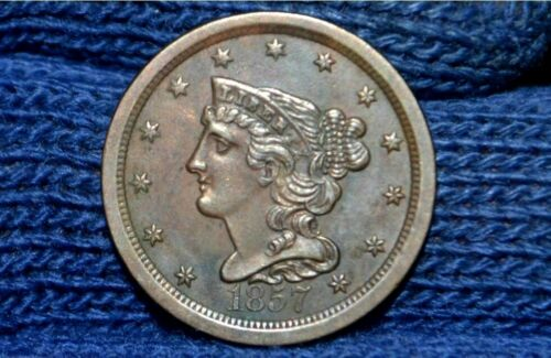 1857 HALF CENT** UNC ** NICE BROWN**Take 5% off right now