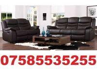 Lux-ury Black Reclining 3 + 2 Seater Leather Sofa Set