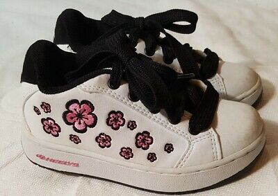 HEELYS Motion Plus White/Flowery Lace Up Low Top Skating Shoes Girls Size 12 C