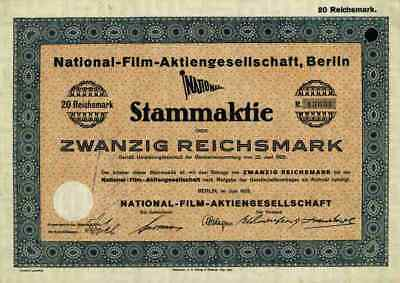 National Film AG 1925 Paramount Berlin Breslau Leipzig München 20 Reichsmark RAR