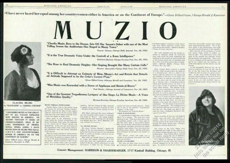1922 Claudia Muzio 2 photo opera singing recital tour booking ad