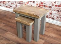 Hardwood Rustic Nest of Tables in French Grey Painted Finish
