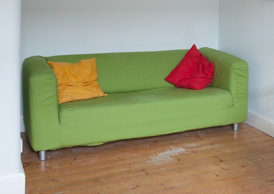 Ikea Sofa With Green Removable And Machine Washable Cover.