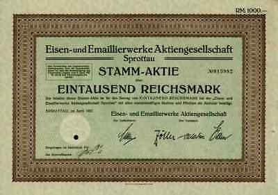 Eisen Emaillierwerke Marienhütte Sprottau Szprotawa 1927 Kotzenau Mallmitz 1000