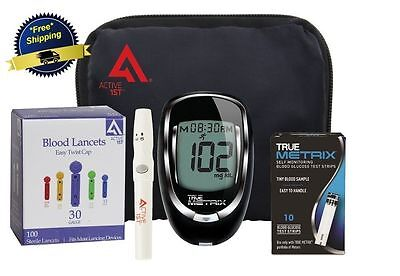 Glucometer True Metrix Blood Glucose Meter Starter Kit 10 Test Strips Diabetes