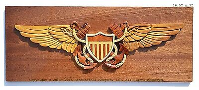 NAVAL FLIGHT OFFICER BADGE - NAVY PLAQUES  Handcrafted Wooden Military Plaques