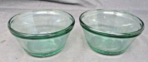2 Anchor Hocking Green Glass Custard Cups #1034 Ramekin Dishes 6 Oz