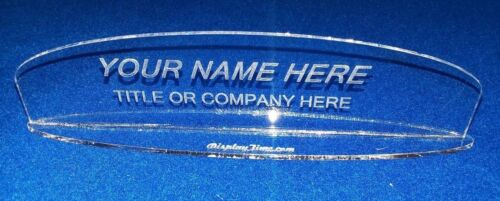 Personalized Acrylic Glass NAME PLATE BAR Desk Oval Top & Base Free Shipping