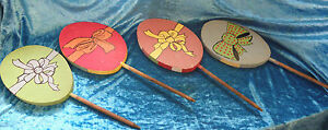 ONE-SET-OF-4-WOOD-HAND-PAINTED-GARDEN-OR-YARD-ART-WOOD-CUT-OUTS-0041010