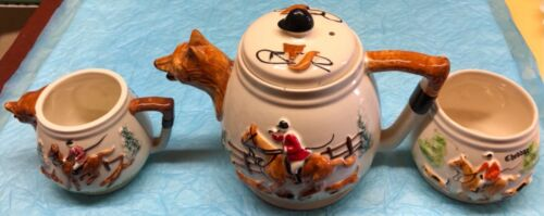 Fox Hunt Hunting Fox Head Spout Teapot Creamer and Open Sugar Mixed Set
