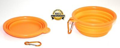 SET of 2 Collapsible dog & cat orange portable bowl with holder, for travel