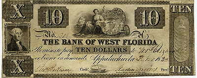 1832 Bank Of West Florida Ten Dollars Appalachicola  Fl   Extra Fine