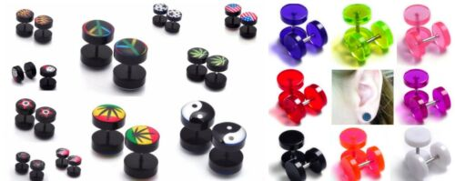 Pair Fake Ear Plug Stud Earrings Cheater Stretch Tunnels Gauge Acrylic Barbell