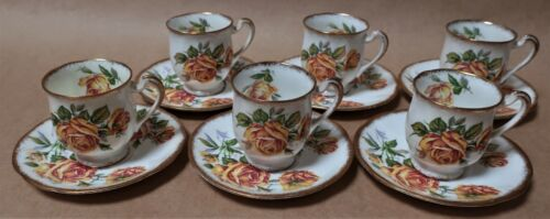 SIX VINTAGE ROYAL STANDARD ROMANY ROSE DEMITASSE COFFEE CUP & SAUCER SETS