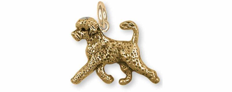 Portuguese Water Dog Jewelry 14k Gold Handmade Portuguese Water Dog Charm  PWD2-