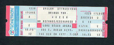 1977 Queen unused full concert ticket Long Beach Arena News Of The World Tour