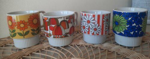 Set of 4 vintage groovy 60s coffee mugs Japan