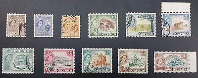 Cyprus 1955-60 Definitive Series 10 Values SG.173 - 182 Part Set (Used)