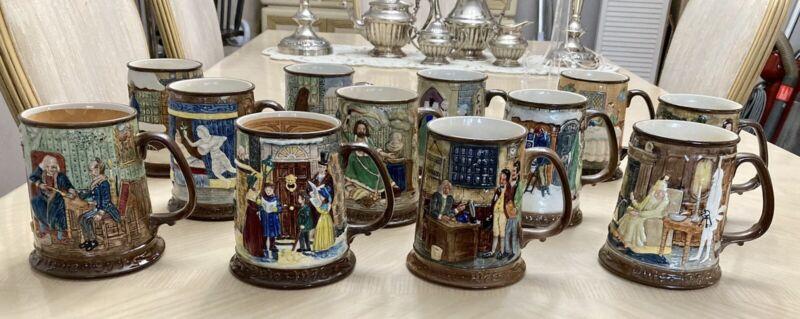 12 Beswick Royal Doulton Collectors Mugs 1971-82 Christmas Carol Charles Dickens