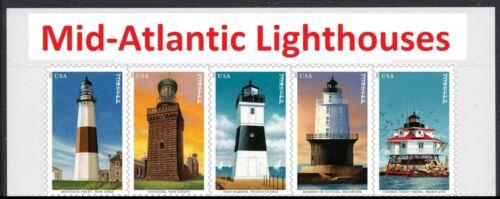 US 5621-5625 5625a Mid-Atlantic Lighthouses forever header strip set MNH 2021