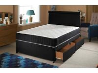 double/king size divan base with mattress and headboard--call us now