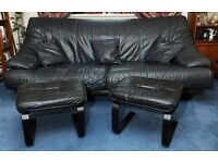 BLACK LEATHER 3 SEATER SOFA, ARMCHAIR & SWIVEL CHAIR & FOOTSTOOLS