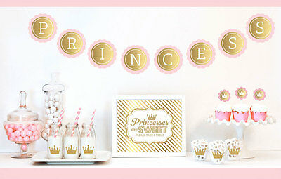 Gold And Glitter Pink Princess Party Birthday Party Decorations - Pink And Gold Princess Party