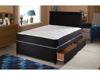 FREE!! SAME DAY DELIVERY!BRAND NEW BLACK FABRIC DIVAN DOUBLE BED AND MEMORY FOAM MATTRESS