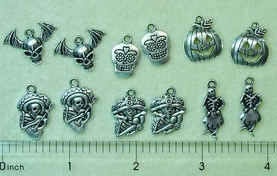 Halloween Day of the Dead Goth Silver Bead Charms Skeleton Skull Bat Wings (Dead Beads)
