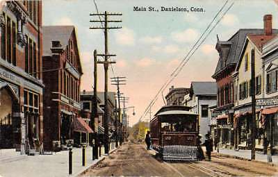 Danielson Connecticut Main Street Trolley Antique Postcard J77114