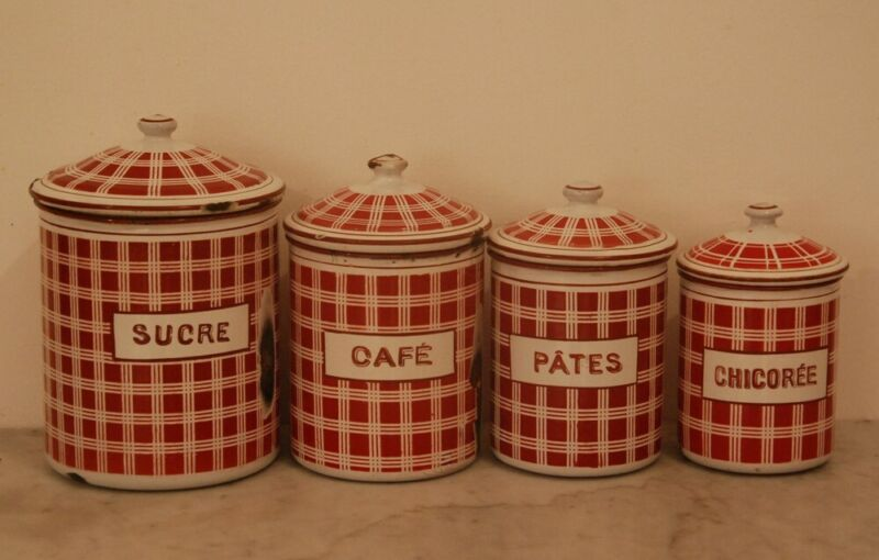 RED FRENCH CANISTER SET ~ BB ANTIQUE ENAMEL WARE ~ GRANITEWARE