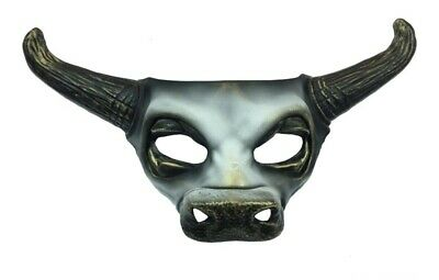 Grey Bull Skull Half Mask Adult Horns Cow Spirit Animal Halloween Masquerade - Animal Skull Halloween Mask