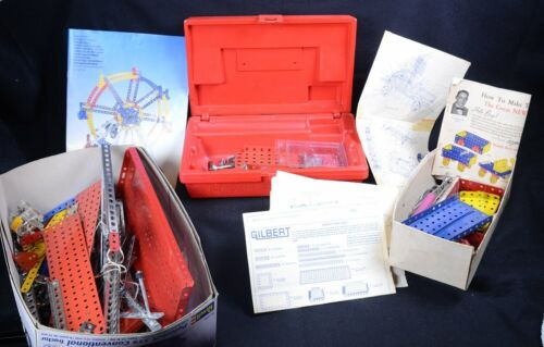 Large Vintage Mixed Lot Erector Set with FERRIS WHEEL and Original Case