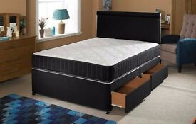 COMPLETE BLACK BED SET -- DOUBLE DIVAN BED WITH MEMORY FOAM MATTRESS ONLY £135 -FREE LONDON DELIVERY