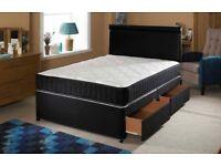 BRAND NEW COSY BLACK DIVAN BED BASE IN SINGLE DOUBLE KINGSIZE MATTRESSES OPTION, DRAWERS & HEADBOARD