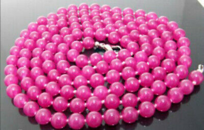 New 10mm Rose Red jade Gemstone Round Beads Necklace 18''AAA 10mm Red Jade Necklace