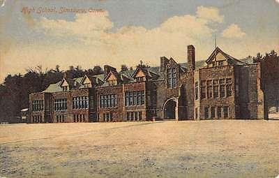 Simsbury Connecticut High School Exterior Street View Antique Postcard K29459