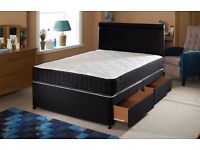 **SAME DAY CASH !**BRAND NEW-Divan Double Bed With Economy Mattress, Drawers & Headboard Options
