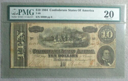 PMG Graded (20) Very Fine $10 Confederate Note, Type 68