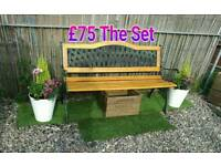 Garden items planters stone benches wooden benches