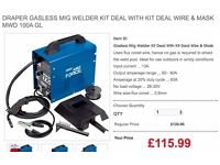 Draper Gasless Mig Welder Kit Deal With Kit Deal Wire & Mask MWD 100A GL No gas mig welder