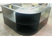 Black Matt Glass Shop Counter-Set of 3/Ref:0811